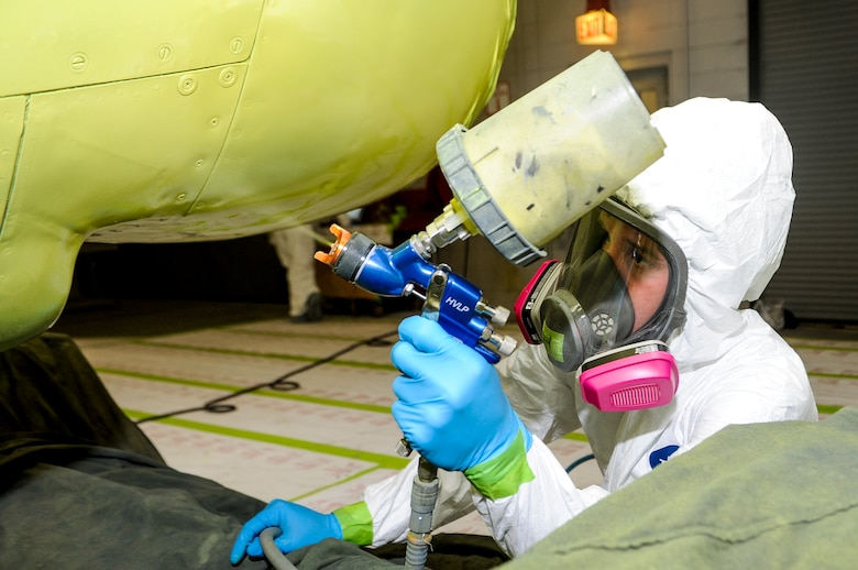 U.S. Air Force Senior Airman Patrick Hanrahan, aircraft structural maintainer from Fabrication Flight, 1st Special Operations Equipment Maintenance Squadron, uses a paint spray gun to add a coating of primer on a C-130 engine at the Corrosion Control Facility on Hurlburt Field, Fla., April 25, 2013. The 1 SOEMS is dedicated to providing the 1st Special Operations Wing with the best quality in maintenance and ensuring the wing can accomplish its mission any time, any place. (U.S. Air Force photo/Airman 1st Class Christopher Callaway)