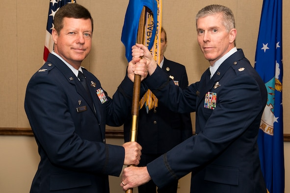 U.S. Air Force Lt. Col. Trey Morriss (right) assumes command of the 93rd Bomb Squadron, April 28, 2013, Barksdale Air Force Base, La. Morriss is the former 307th Operations Group vice commander. (U.S. Air Force photo by Master Sgt. Greg Steele/Released)