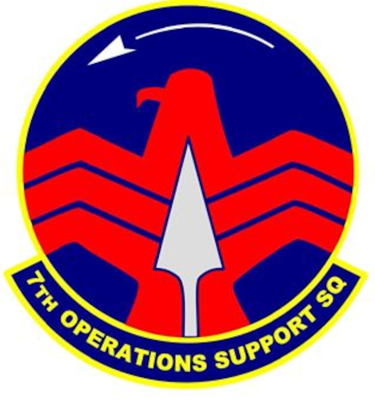 7th Operations Support Squadron shield (color), provided by 7th Bomb Wing Public Affairs.