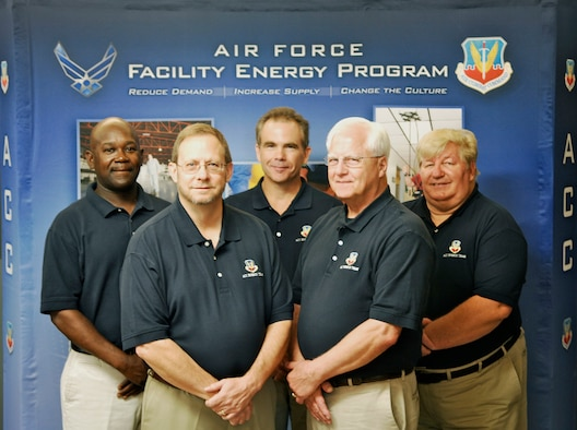 The Air Combat Command facility energy team expertly managed a comprehensive program for 16 installations earning them a 2013 Federal Energy Management Program Award. Among its many achievements, the team oversaw the award of 39 energy projects, which are expected to save 450,450 MBTUs and $5.5 million annually. Pictured from left: resource efficiency manager John McDuffie, energy projects manager Steven White, energy management systems manager William Turnbull, program analyst William Kuster and energy technical adviser Dennis Svalstad. (U.S. Air Force photo/Sachel Seabrook)