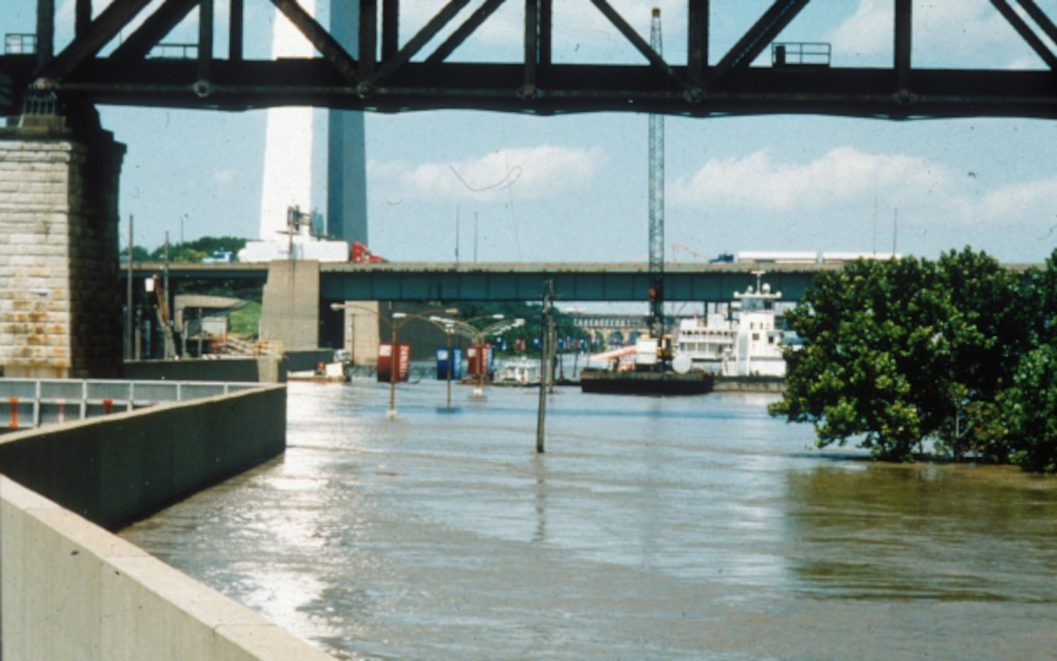 St. Louis Flood Wall during the 93 flood