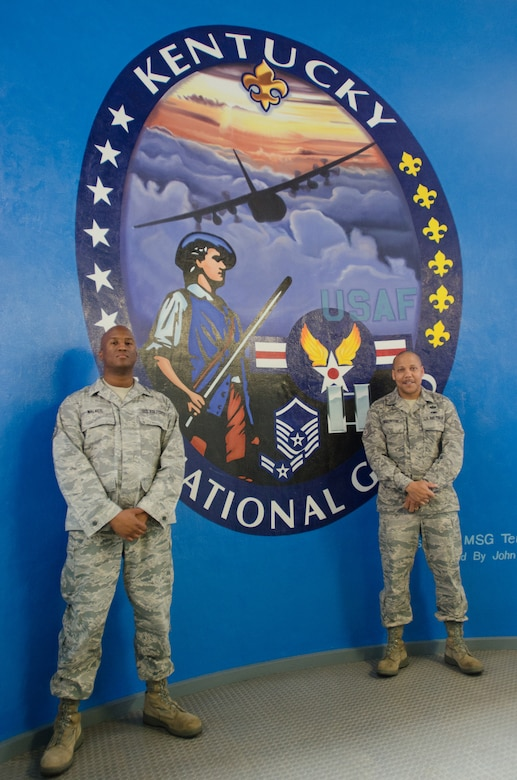 """Tech. Sgt. Anthony Walker (left) and Tech. Sgt. Lawrence Wigginton, recruiters in the Kentucky Air National Guard's 123rd Airlift Wing, recently won the national """"Medicine Man"""" recruiting award and the Region IV """"Top Rookie Recruiter of the Year"""" award for 2012, respectively. Both recruiters are now eligible to wear the Recruiter Gold Badge on their service dress uniforms as an indicator of excellent performance. (U.S. Air National Guard photo by Master Sgt. Phil Speck)"""