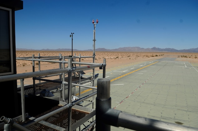 A field carrier imitation dock at AUX-II, 30 minutes out of Canon Air Defense Complex, serves as the ideal staging ground for Marine Attack Squadron 214 pilots to complete pre-deployment ship-based vertical landing certification. The site is maintained, run, and made possible through the hard work of Yuma-based Marine Wing Support Squadron 371.