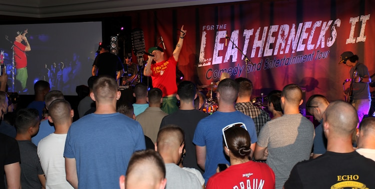 """In an effort to offer Marines and sailors at Marine Corps Air Station Yuma, Ariz., some fun and good times, hip hop artist and LaGrange, Ga. native, Bubba Sparxxx came out as part of the Leathernecks Comedy and Entertainment Tour, July 26. """"I just hope they have fun, it's really that simple,"""" said Sparxxx."""
