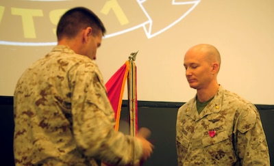 On July 1, Maj. Eric L. Geyer, the assistant operations officer with Marine Aviation Weapons and Tactics Squadron 1, aboard Marine Corps Air Station Yuma, Ariz., and a native of Palm Coast, Fla., received the bronze star from acting MAWTS-1 commanding officer Lt. Col. Todd Miller for his actions in support of Operation Enduring Freedom in Afghanistan from November 15, 2009, to June 1, 2009.