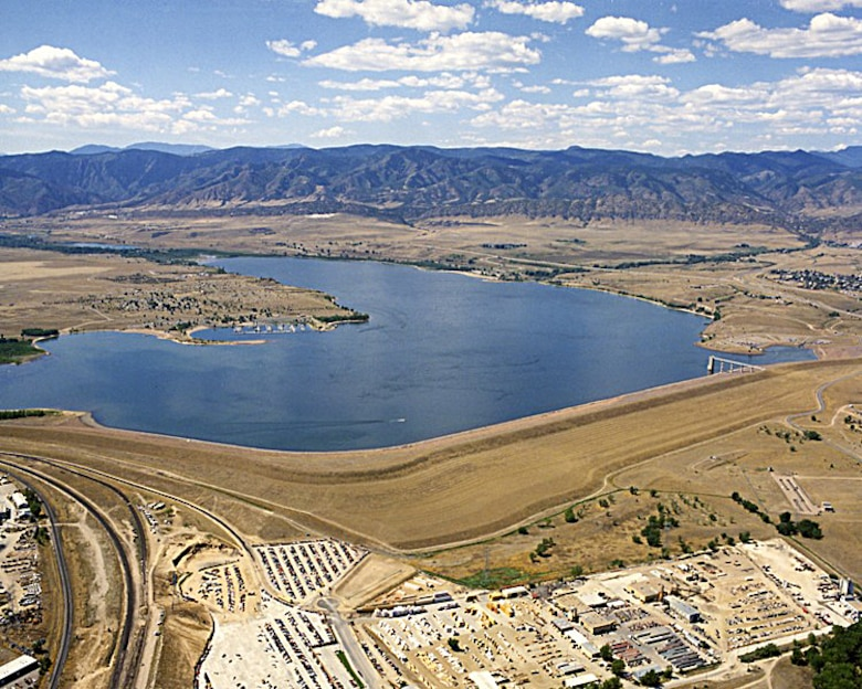 Chatfield Dam was the second of three dams built to reduce flooding risks in the Denver area. Located southwest of Denver on the South Platte River, construction of the dam was begun in 1967 and was completed in 1975.