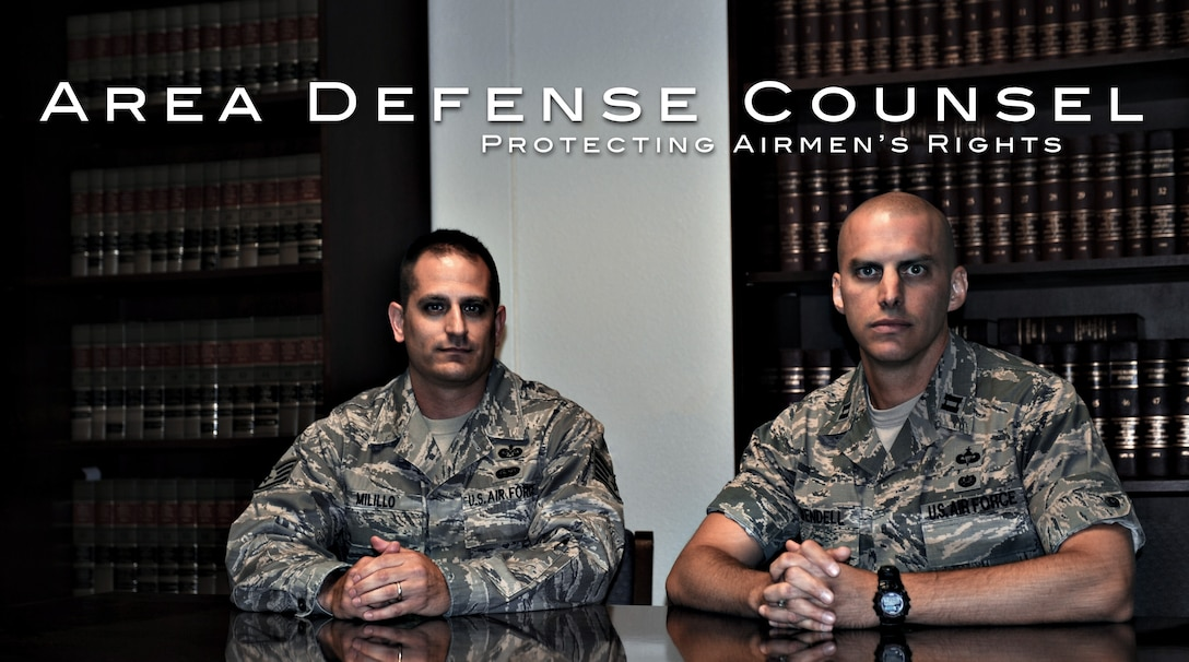 From left, U.S. Air Force Staff Sgt. Carlo Milillo, MHAFB Area efense Council defense paralegal, and Capt. Joshua Wendell, MHAFB Area Defense Council, pose for a photo June 26, 2013, at Mountain Home Air Force Base, Idaho. The base ADC is responsible for representing the interests of Airmen faced with adverse administrative action against themselves or their careers. (U.S. Air Force graphic by Tech. Sgt. Samuel Morse and Senior Airman Benjamin Sutton/Released)