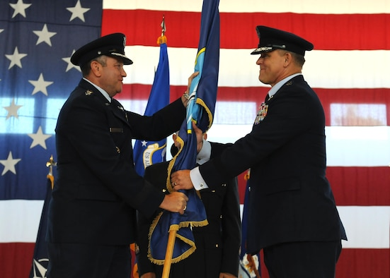 Gen. Philip M. Breedlove, U.S. European Command commander and NATO Supreme Allied Commander Europe (left), gives Gen. Frank Gorenc the command of Allied Air Command during an assumption of command ceremony at Ramstein Air Base, Germany, Aug. 2, 2013. (U.S. Air Force photo/Airman 1st Class Holly Mansfield)