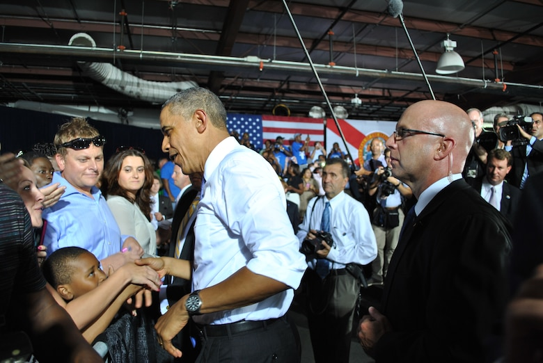 President Obama greets a young admirer in Jacksonville, Fla. July 25.