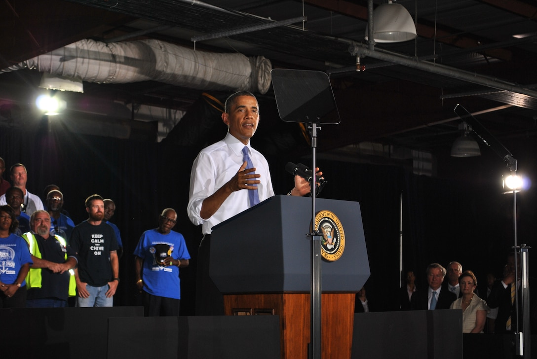 """We've got to create more jobs today, doing what you're doing right here at JAXPORT, and that's building this country's future,"" said President Barack Obama in his July 25 address to a capacity crowd at JAXPORT."