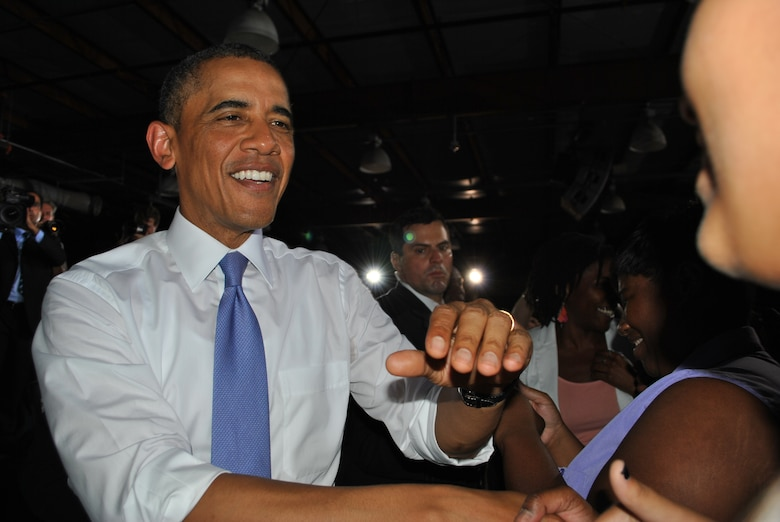 President Obama greets members of a standing-room-only audience at JAXPORT July 25.