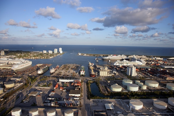 A view of operations at Port Everglades, where Jacksonville District is conducting a study to address the potential widening of the entrance channel and deepening of the navigation channel from its current 42 feet to a depth of 48 feet.