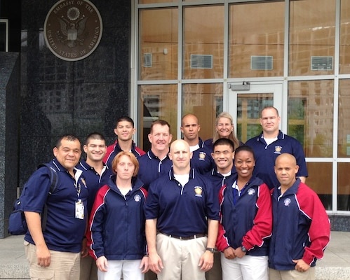 The U.S. Armed Forces Judo Team meets with staff members and fellow Service members stationed at the U.S. Embassy in Astana, Kazakhstan