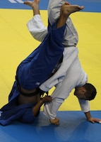 MA2 Bobby Yamashita from NAS Pensacola, FL competes in the 81kg weight division of the 2013 CISM World Military Judo Championship