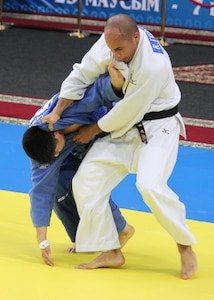 IT1 Robert Turnquest (Corry Station, FL) fights in the 81Kg weight division at the 2013 CISM World Military Judo Championship in Astana, Kazakhstan 30 Jun to 7 July.