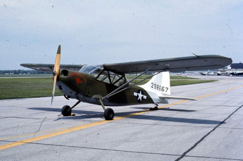 The Stinson L-5 Sentinel was flown by the 112th Liaison Squadron in the Oregon Maneuver of 1943.  The squadron deployed overseas to Europe in 1944 and served in a courier role in the area behind the front lines during the campaign across Northwestern Europe, principally attached to Headquarters Command, Supreme Headquarters Allied Expeditionary Forces.  This L-5 Sentinel is pictured at the National Museum of the Air Force, Wright-Patterson AFB, Ohio.  (U.S. Air Force Photo)