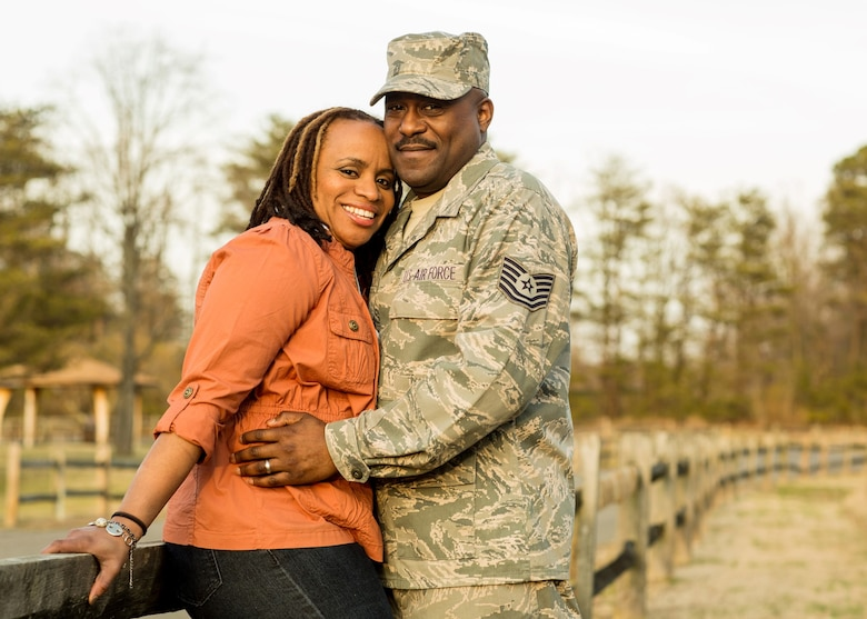 2013 Armed Forces Insurance Military Spouse of the Year, Alicia Hinds Ward poses with her husband, Tech. Sgt. Edwinston Ward of the 113th Logistics Readiness Squadron, Washington D.C. Air National Guard.