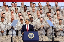 Commander in Chief, Barack Obama, addresses service members during his visit to the Marine Corps Air Station Camp Pendleton Aug.7. Obama spoke about the war in Afghanistan, the Wounded Warrior Program and his appreciation for the armed services during his visit to the base.