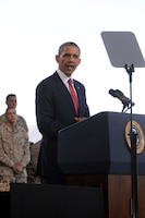 Commander in Chief, Barack Obama, addresses service members at the Marine Corps Air Station Camp Pendleton Aug.7. During his visit he spoke about a number of topics including the war in Afghanistan and the Wounded Warrior Program.