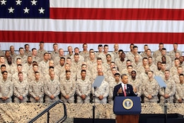 Commander in Chief, Barack Obama, addresses service members during his visit to the to the Marine Corps Air Station Camp Pendleton Aug.7. Obama spoke about the war in Afghanistan, the Wounded Warrior Program and his appreciation for the armed services.