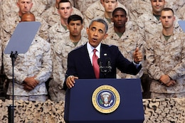 "Commander in Chief, Barack Obama, addresses thousands of service members during his visit to the to the Marine Corps Air Station Camp Pendleton Aug.7. Obama voiced his appreciation for the ""9/11 generation"" and all of the accomplishments they have made."