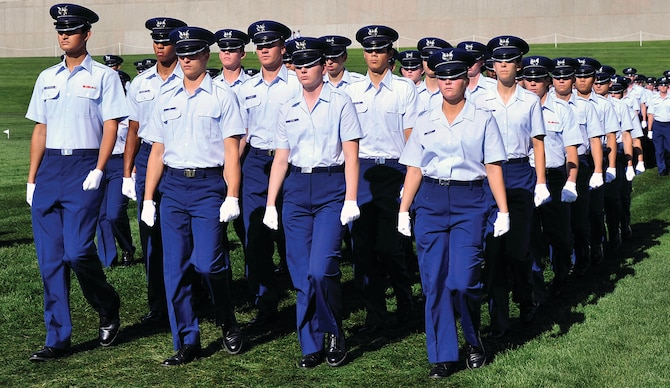 Basic cadets march onto the Stillman Parade Field at the Air Force Academy Aug. 6, 2013. Approximately 1,150 cadets who completed Basic Cadet Training, out of roughly 1,200 who entered BCT in June. (U.S. Air Force photo/Sam Lee)