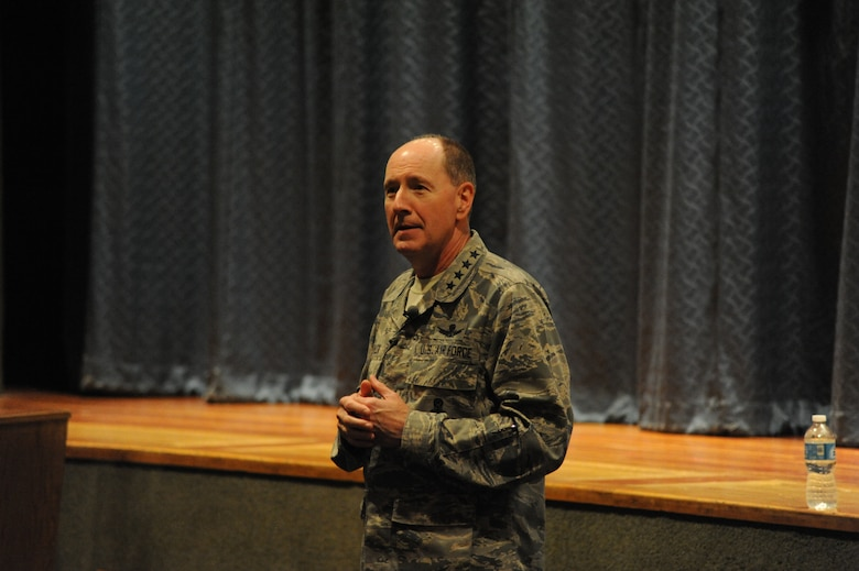 General C. Robert Kehler, U.S. Strategic Command commander, addresses Team Malmstrom members during an all call at the base auditorium on July 31. Kehler answered various questions about sequestration, the New START treaty and other issues affecting the base and Team Malmstrom members. (U.S. Air Force photo/Airman 1st Class Collin Schmidt)