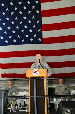 Brig. Gen. Kenneth L. Gammon, Chief of Staff Air, speaks to 1400 members of the Utah Air National Guard about sexual assualt in the Air Force at the Utah Air National Guard's annual Wingman day on August 4, 2013 at the Utah Air National Guard Base in Salt lake City Utah. (U.S. Air Force photoby TSgt. Jeremy Giacoletto-Stegall)(RELEASED)