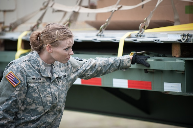 Army Pfc. Loura Wiggs, a transportation specialist with the U.S. 689th Army's Rapid Port Opening Element in Fort Eustis, Va., directs the placement of a pallet of disaster-relief supplies onto a flat-bed truck at MidAmerica St. Louis Airport in Mascoutah, Ill., on Aug. 7, 2013, as part of Exercise Gateway Relief, a U.S. Transportation Command-directed earthquake-response scenario. Wiggs was working at the forward node of a Joint Task Force-Port Opening, where relief supplies that arrive by air are staged for further movement over land by trucks. The Kentucky Air National Guard's 123rd Contingency Response Group operated the airlift side of the JTF-PO, known as an Aerial Port of Debarkation. (U.S. Air National Guard photo by Maj. Dale Greer)