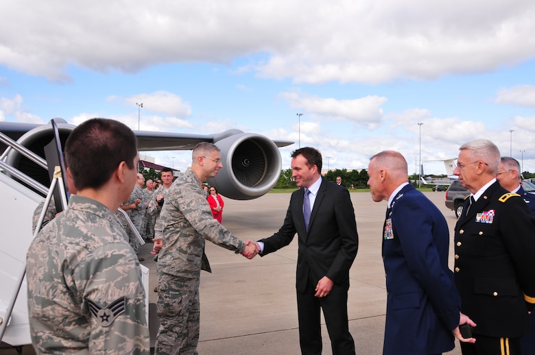 Acting Secretary of the Air Force Eric Fanning made a stop at the 171st Air Refueling Wing in Coraopolis July 24.  Mr. Fanning spent time with the men and women of the 171st, learning about the mission, capabilities, and relevance of the Pennsylvania Air National Guard. (U.S. Air National Guard photo by Maj. Karen Bogdan/released)