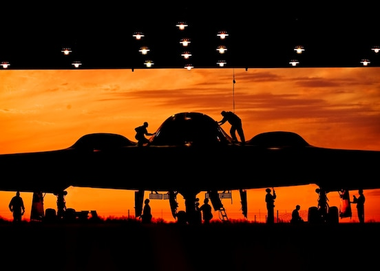 During early morning operations, 131st Bomb Wing Missouri Air National Guard maintainers service a B-2 Spirit at Whiteman Air Force Base, Mo. The 131st  BW has recently been certified to conduct nuclear missions upon completion of their initial nuclear surety inspection.(U.S. Air National Guard photo/Master Sgt. Robert Trubia)