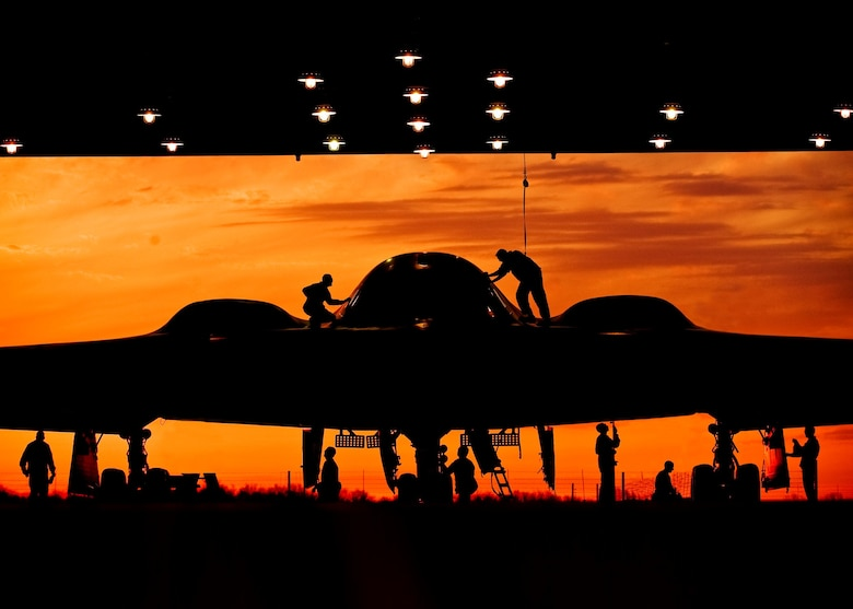 During early morning operations, 131st Bomb Wing Missouri Air National Guard mantainers service a B-2 Stealth at Whiteman Air Force Base, Mo. The 131st  BW has recently been certified to conduct nuclear missions upon completion of their initial nuclear surety inspection.