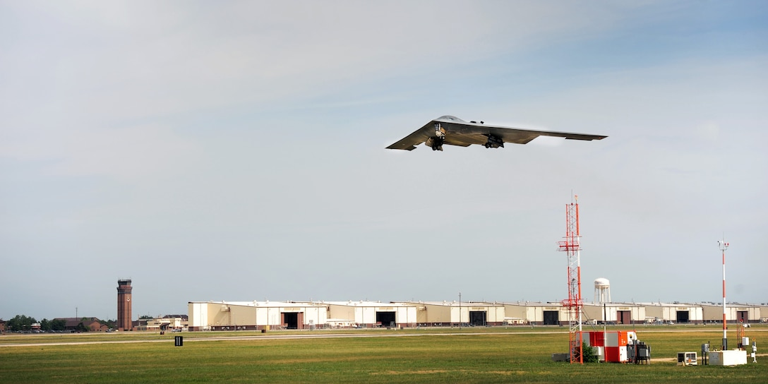 A B-2 Spirit from the 509th Bomb Wing lifts off of the runway July 25, 2013, at Whiteman Air Force Base, Mo. The B-2's low-observable, or stealth, characteristics give it the unique ability to penetrate an enemy's most sophisticated defenses and threaten its most valued and heavily defended targets. (U.S. Air Force photo/Staff Sgt. Nick Wilson)