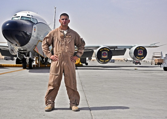 Staff Sgt. Chris poses in front of the RC-135 Rivet Joint July 16, 2013, at the 379th Air Expeditionary Wing in Southwest Asia. Chris is a career enlisted aviator who has flown more than 2,000 hours and more than 400 combat sorties.