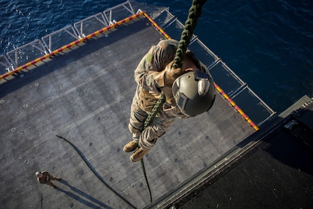 A Marine with the Force Reconnaissance Platoon, Maritime Raid Force, 31st Marine Expeditionary Unit, fast ropes out of a static MV-22 Osprey aircraft onto the elevator below the flight deck here, Aug. 10. The Marines and Sailors hone their skills by training while stationary before descending from an aircraft in flight. The 31st MEU is currently deployed with Amphibious Squadron 11 on a regularly scheduled patrol. The 31st MEU is the Marine Corps' force in readiness in the Asia-Pacific region and is the only continuously forward deployed MEU.