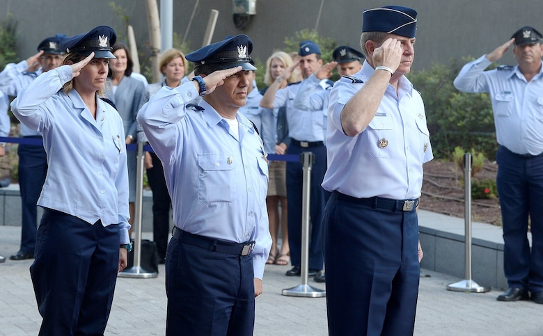 Chief of Staff Gen. Mark A. Welsh III (right center), is welcomed with a ceremony by Maj. Gen. Amir Eshel, Israeli Air Force commander Aug. 4, 2013, in Tel Aviv. Welsh's visit provided  the opportunity to discuss the future of the U.S.-Israel military partnership, and included a number of office calls and site visits with Israeli senior military leaders, along with a cultural tour.