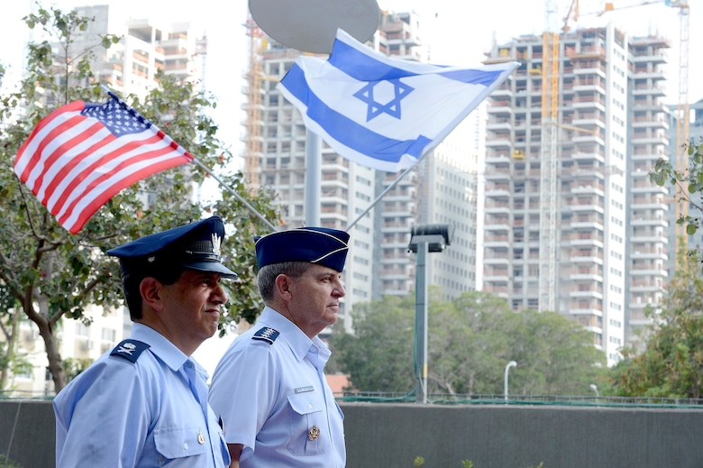 Chief of Staff Gen. Mark A. Welsh III (right) is welcomed with  a ceremony by Maj. Gen. Amir Eshel, Israeli Air Force commander Aug. 4, 2013, in Tel Aviv. Welsh's visit provided the opportunity to discuss the future of the U.S.-Israel military partnership, and included a number of office calls and site visits with Israeli senior military leaders, along with a cultural tour.