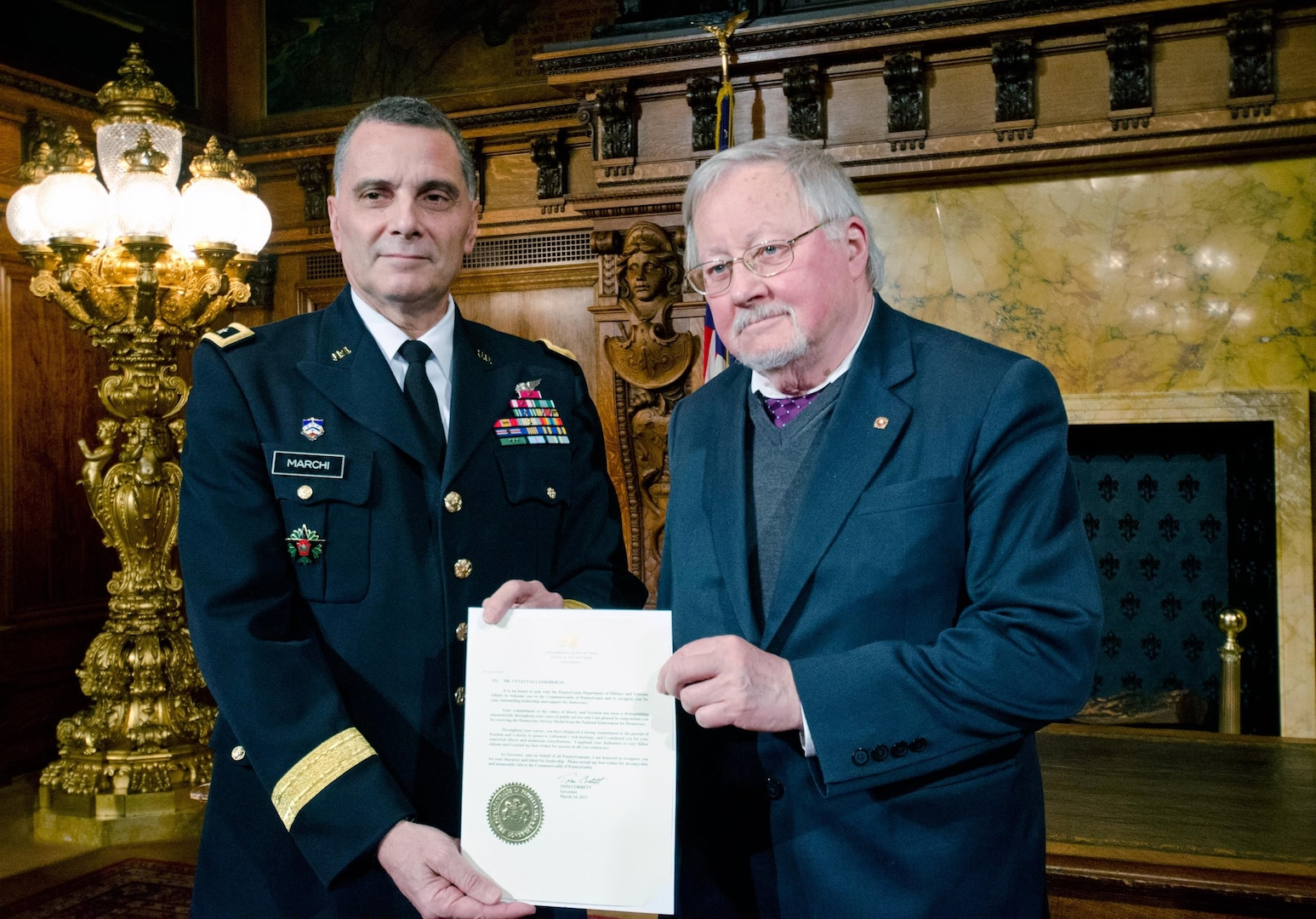 Maj. Gen. Randall Marchi, Pennsylvania deputy adjutant general-Army, on behalf of Pennsylvania Gov. Tom Corbett, recognized Vytautas Landsbergis with a proclamation.