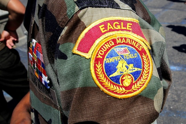 Each Young Marine in the Eagle Young Marine program wears shoulder patches that designate their unit and ribbons to display their achievements in the program. The Eagle Young Marines of the Marine Corps League is a non-profit youth organization dedicated to drug demand reduction, academics, and community service.