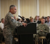 On Aug. 6, Gen. John F. Campbell, Vice Chief of Staff of the Army, addressed the Strategic Leaders' Conference of the U.S. Army Corps of Engineers  in the Belvoir Room of the Officers' Club at Fort Belvoir, Va.  About 150 members of the USACE senior military and civilian leadership attended Gen. Campbell's 45-minute speech.  Gen. Campbell spoke briefly on the current strategic and fiscal challenges facing the U.S. Army, and then opened the floor for questions from the audience.