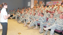 Valerie Alston, primary MRT course instructor, Joint Base Lewis-McChord, Wash., left, addresses a class July 26 at Fort Riley.  Photo by: Sgt. 1st Class Jonathan Wiley, 1ST INF. DIV.