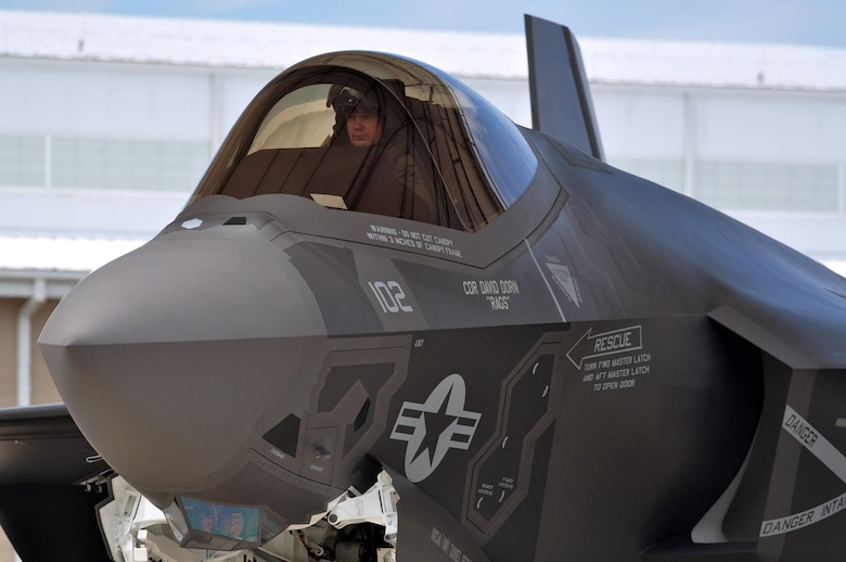 Navy Lt. Cmdr. Christopher Tabert returns from the first local flight of the carrier variant of the F-35C Lightning II, Joint Strike Fighter, Aug. 14, 2013, at Eglin Air Force Base's 33rd Fighter Wing. The unit, co-located at the wing, serves as the F-35C Fleet Replacement Squadron, training F-35C aircrew and maintenance personnel alongside Air Force, Marine and coalition partners in the joint strike fighter program. Tabert is an F-35 instructor pilot with the U.S. Navy Strike Fighter Squadron VFA-101.