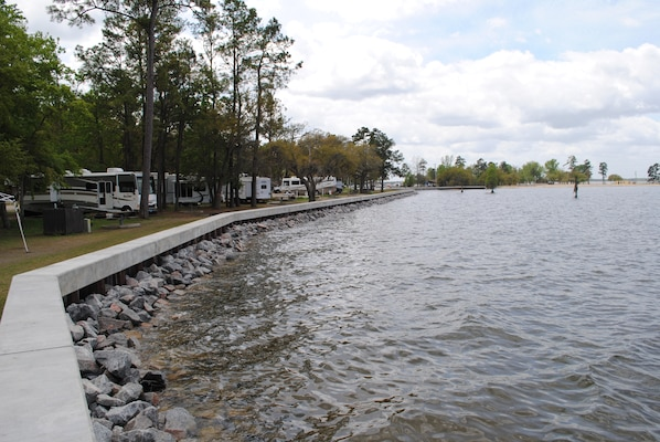The Charleston District built a new lakewall for the Joint Base Charleston Short Stay Recreation Area as part of their MWR program.