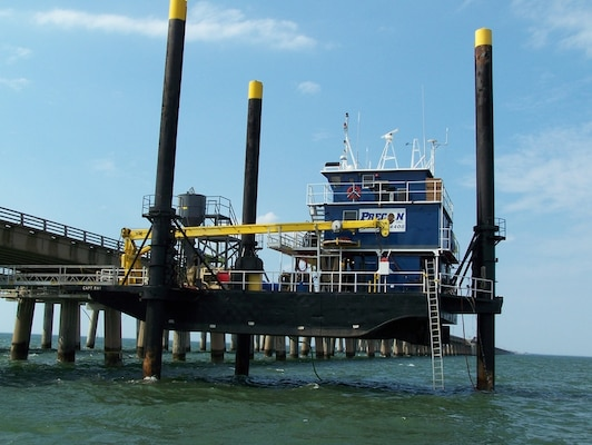 The Charleston District will use the Capt'n Ray liftboat to perform rock coring in Charleston Harbor.