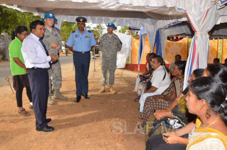 NORTHERN PENINSULA, Sri Lanka -- Sri Lankan and the U.S. military and civilians educate locals here Aug. 5 on disaster preparedness during Operation Pacific Angel 13-4. The operation was a combined effort of Sri Lanka and the U.S. to both provide health and engineering services, plus better prepare locals for disaster response. (Sri Lanka Air Force photo/Released)