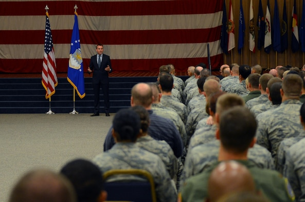 Acting Secretary of the Air Force Eric Fanning addresses Airmen during an all-call Aug. 14, 2013, on Barksdale Air Force Base, La. During the meeting, Fanning spoke to Airmen about current issues affecting the military.