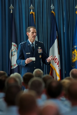 """Lt. Gen. Stanley E. Clarke III, the director of the Air National Guard, addresses attendees during a """"Focus on the Force"""" all call event at the ANG Readiness Center Aug. 14, 2013, at Joint Base Andrews Md. Focus on the Force gathers senior enlisted leaders to openly discuss concerns, receive feedback from the junior enlisted and tell the exceptional stories of ANG Airmen throughout the 50 states, territories and District of Columbia. (U.S. Air National Guard photo/Master Sgt. Marvin R. Preston)"""