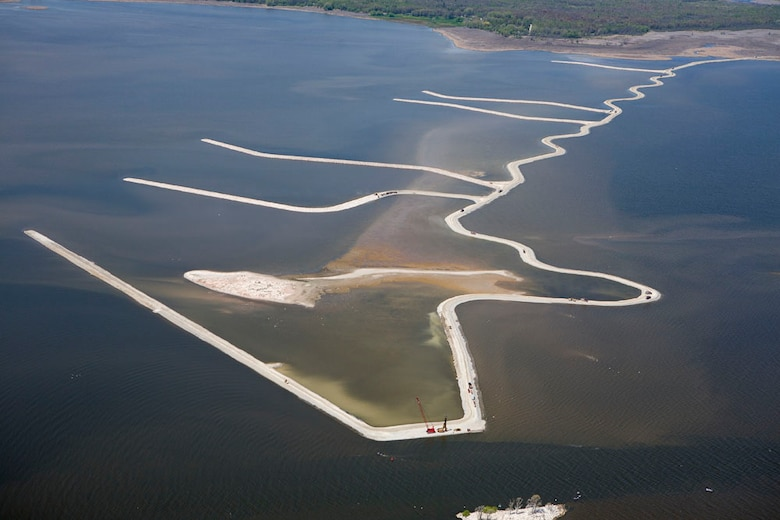 An aerial view of the Cat Island Chain in Green Bay, Wis.