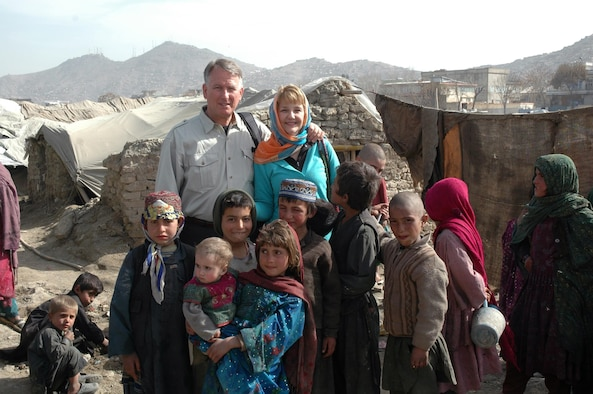 Retired Lt. Gen. John Bradley and his wife, Jan, visit Afghanistan, where they've started construction on three schools for Afghan children. The couple also created the Lamia Foundation, named after a child Bradley met in 2007, which provides clothing and food to Afghan children in need. Bradley is a former Air Force Reserve Command commander and chief of the Air Force Reserve. (Courtesy photo)