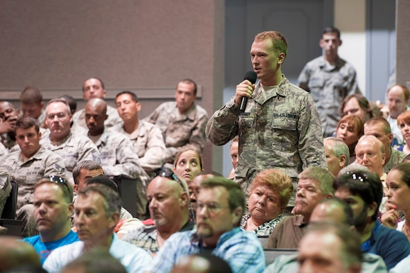 During the 45th Space Wing All-Call, 2nd Lt. Giles Gonnsen asks Acting Secretary of the Air Force Eric Fanning a question on decisions being made by the country's top leaders Aug 8, 2013, at Patrick Air Force Base, Fla. Gonnsen is assigned to the 45th Logistics Readiness Squadron.